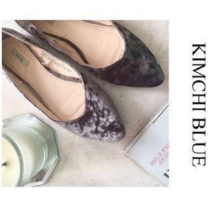 UO Kimchi Blue Velvet Gray Flats